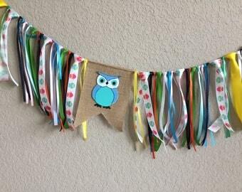 Owl high chair banner, Baby shower banner