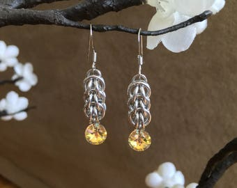 Persian Chainmaille & Swarovski Crystal Earrings Slv