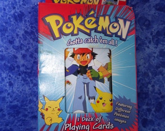 Pokemon Playing Cards-- NEW in BOX 1999 Collectible Tin; Cards Unopened; Made by Bicycle Playing Cards; 1995 1996 1998 Nintendo Copyright