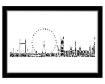 PERSONALISED London Silhouette Word Art Wall Print Gift Idea Birthday Bedroom Tourist Attractions Landmarks Mum Sister Dad Son Brother NP120