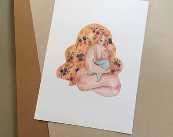 Illustrated watercolour breastfeeding wildflowers art print A4