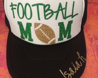 Football mom glitter  hat
