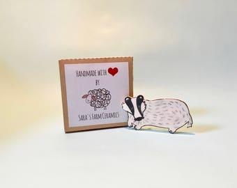 Badger Brooch, Handmade Ceramic brooch, Ceramic jewelry, Ceramic and Pottery, Gift