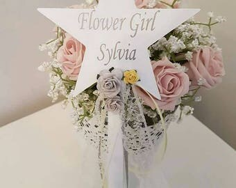 Flower girl wand, star wand, flower girl gift, flowergirl wand, flowergirl present, bridal party, bride to be gift, wedding sign