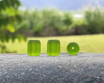 Cultured sea glass barrel nugget beads, Olive, 10x8 mm, 17 pc
