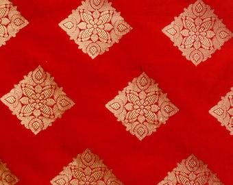 Half Yard of Red and Golden Zari Traingle Pattern Brocade Silk Fabric by the yard