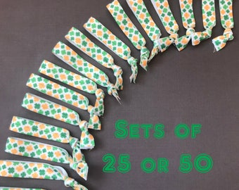 Sets of 25 or 50 St Patrick's Day Shamrock Hair Ties