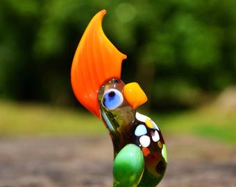 Murano Glass parrot figurines dollhouse design unique figurines spun glass animal parrot paperweight miniature glass statue menagerie birds