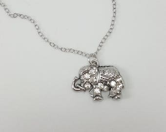 Jeweled Elephant Necklace, Dainty Indian Elephant Necklace, Elephant Jewelry