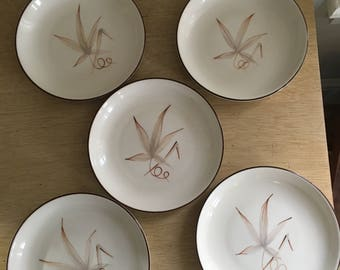 winfield pottery company of california passion flower 4 small desert plates mid century