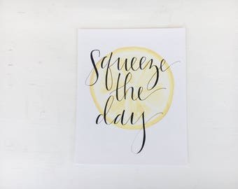 Squeeze the Day 8x10 Framable Art Print // Watercolor Lemon Background