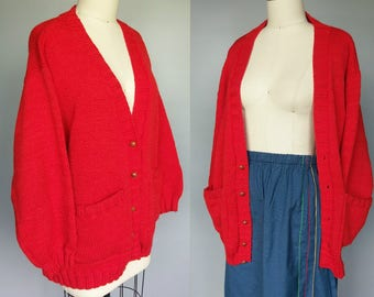 tomato / cozy oversized wool cardigan sweater in bright red / one size