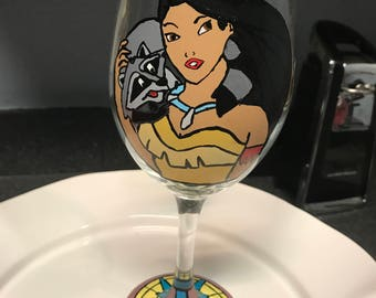 Pocahontas wine glass