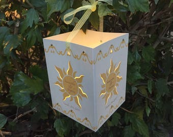 "FREE SHIPPING-6"" tall Yellow/Gold Personalized Tangled Lanterns with included tea lights. Center pieces, Room decor, Birthday party Decor"