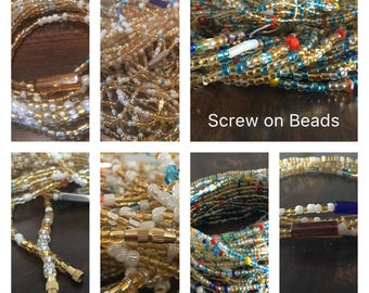 Screw on African Waist Bead, Belly Beads, Seed Beads, Ghana Waist Bead, African Waist Beads, Glass Beads, Africa Belly Chain with Clasp,