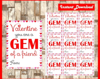 Gem Valentine's Cards - Printable Valentine's Day tags - You Are A Gem - Gem Of A Friend - Instant Download