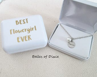 Flowergirl Necklace ~ Pearl Flower Girl Necklace ~ Thanks for being our Flowergirl Gift Will you be our Flowergirl Ask Flower girl Gift