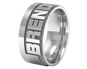 Personalized Name Ring, Custom Name Band Ring in Sterling Silver Metal, Custom Wedding Band Ring, Engagement Ring, Silver Wedding Ring