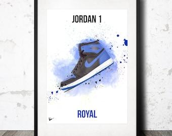 Nike Air Jordan 1 Royal Artwork Poster Print - Limited Edition