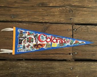 "Colorado Felt Pennant Flag Vintage 26"" Vintage Travel Souvenir"