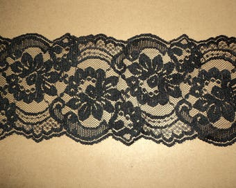 "2 Yards and 33"" Black Flat Lace - 3 1/2"" Wide"
