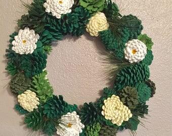 Pine Cone Daisy Wreath