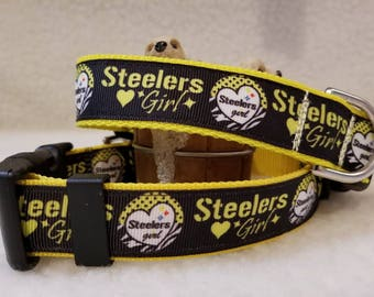 Steelers Girl Handmade Dog Collar 1 Inch Wide Medium Only