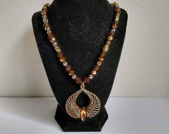 Egyptian Goddess Jewelry Set; Tan & Gold w/Pendant