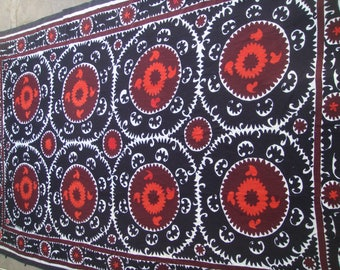 Big Sale!!! Vintage UZBEK SUZANI Handmade silk Embroidery on cotton fabric (360x230cm 142х90.5inch)