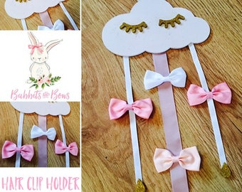 Handmade and Hand Painted Wooden Light Pink Glittery Eyelash Cloud Hair Bow Clip Holder