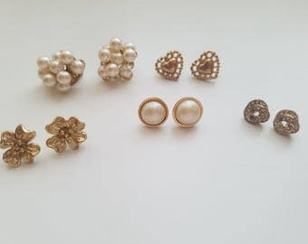 Beautiful and Vintage Victorian Stud Earrings! Stunning Gold Tones - Romantic, Feminine and Delicate. Flowers, Hearts, Knots, Pearls
