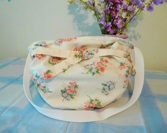 Bag soft pk/lav/blu/floral on white. Fully lined/reversisble