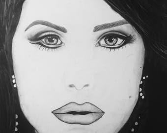 Lana Del Rey Drawing Print