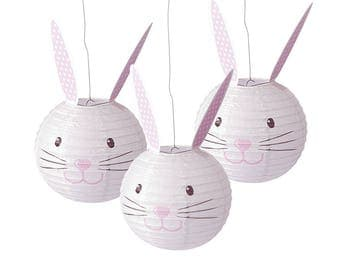 3 Easter Bunny Paper Lantern Decorations for Easter Parties  | Spring Egg Hunt Parties