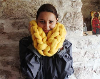 Oversize Infinite Cowl. Yellow mustard Chunky Knit Cowl. Tick Snood Scarf. Merino Scarf. Bulky Yarn Scarf. Christmas gift. Gift for Her..