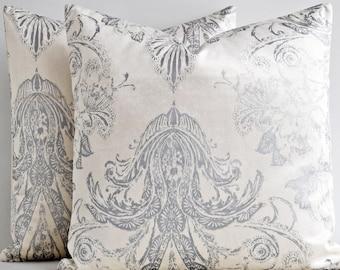 20x20 24x24 26x26 Velvet  Euro Sham Luxury designer decorative throw pillows cover, White Cream and Silver Cotton Velvet Pillow Cover