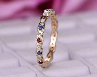 natural sapphire garnet wedding band14k yellow goldfull eternity band art