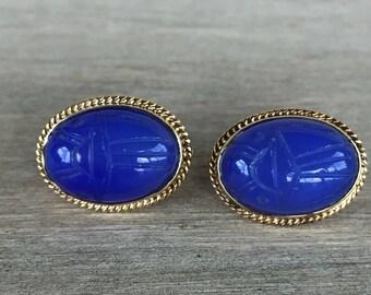 14k yellow gold blue chalcedony earrings