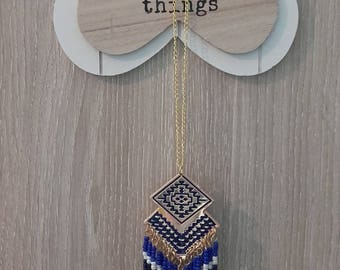 """Great necklace """"Aztec"""" ethnic beads and chains blue"""