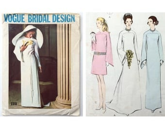 1970s B40 Bell Sleeve Wedding Dress with optional Train Sewing Pattern : Vogue Bridal Design 2315