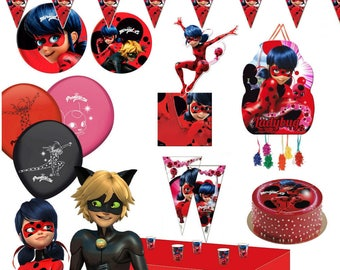 MIRACULOUS LADYBUG Party supplies Decorating Cups Napkins Plates Tablecover Flag banner Face Masks Balloons Hats Loot Bags