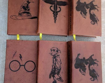 Leather bound and Lasered Harry Potter Books- Mini Series Books 1-3