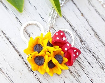 Disney Sunflower Necklace / Disney Jewelry / Mouse Ears Necklace / 21st Birthday Gift / FREE Shipping