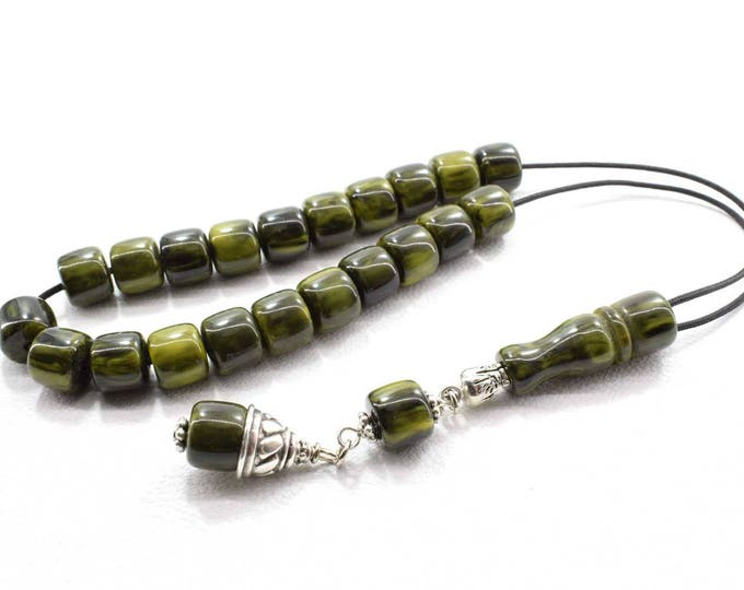 Worry Beads, Greek Komboloi, Green - Olive color Beads, with Marble effect, Barrel shape Beads, Stress Relief, Relaxation, Meditation
