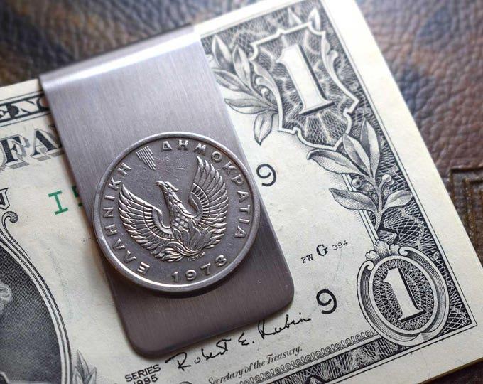 Greek Coin, Phoenix Money Clip, 5 Drachmas 1973, Coin Money Clip, Pegasus, Anniversary Gift, Men's Gifts, Coins, Men's Wallet, Phoenix, 1973