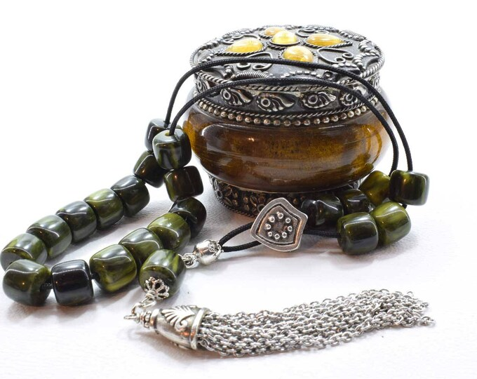 Green Komboloi, Worry Beads, Greek Komboloi, Stress Relief, Relaxation, Meditation, Gift for Dad, Made in Greece, Birthday Gift from Greece