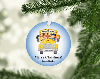 Wheels on the Bus School Bus Driver Ornament