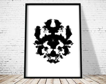 Rorschach Print, Abstract Poster, Rorschach Test, Modern Art Print, Printable Art, Office decor, Home Wall art, Abstract Ink Blot Art Print