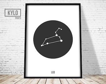 Leo Constellation Print, Zodiac Art, Astrology Poster, Nursery Decor, Scandinavian Poster, Constellation Art, Astrology Wall Art, Home Art