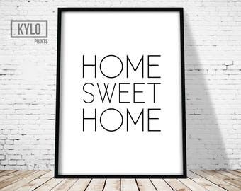 Home Sweet Home Print, Home Wall Art, Typography Poster, Typography Art, Printable Word Art, Home Sweet Home Printable, Housewarming Gift